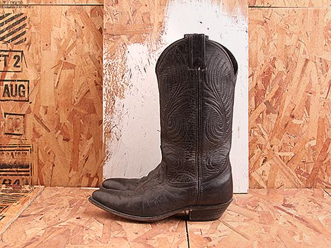 Vintage In Black Distressed No. 452 Amazing Black Cowboy Boots Size 6