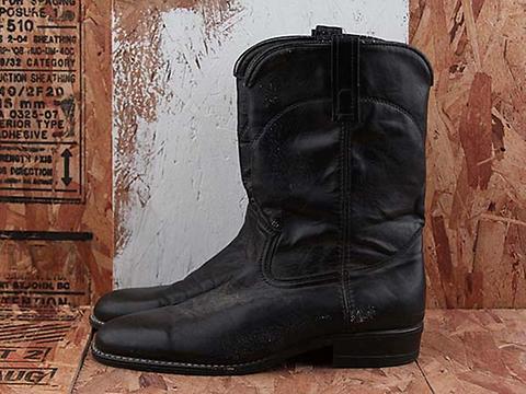 Vintage In Black No. 472 Mens Black Western Boot Size 10.5