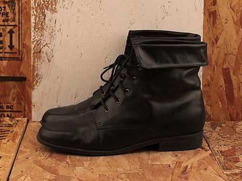 Vintage In Black No. 482 Black Flat Fold Over Boot Size 8