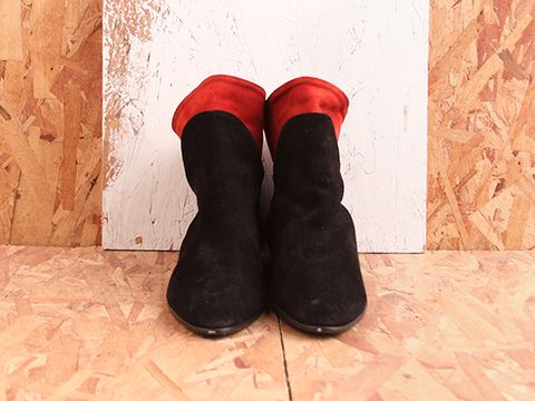Vintage In Black Red No. 492 Black and Red Suede Ankle Boot Size 7