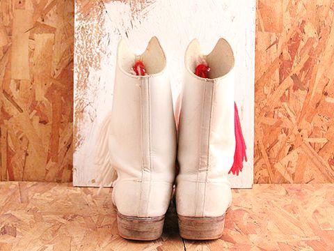 Vintage In White No. 495 Majorette Boots Size 7