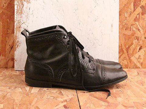 Vintage In Black No. 506 Black Brogue Ankle Boot Size 8.5