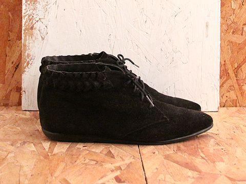 Vintage In Black No. 507 Black Suede Flat Booties Size 5.5