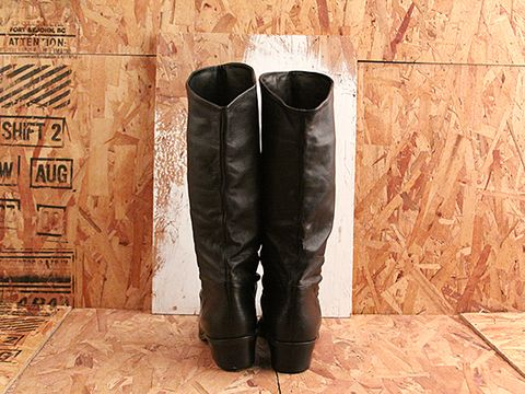 Vintage In Black No. 518 Black Slouch Boot Size 7.5