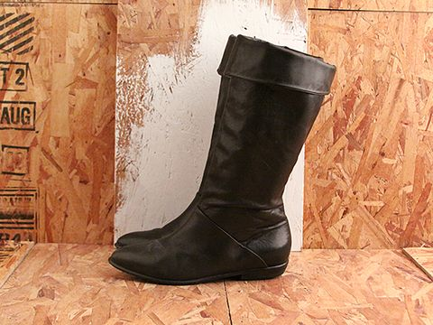 Vintage In Black No. 519 Black Leather Fold Over Boot Size 7.5