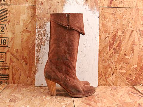 Vintage In Brown No. 524 Brown Suede Western Style Boot Size 5.5