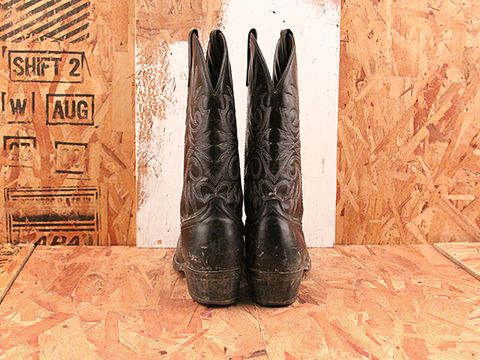 Vintage In Black No. 537 Black Leather Cowgirl Boots Size 8