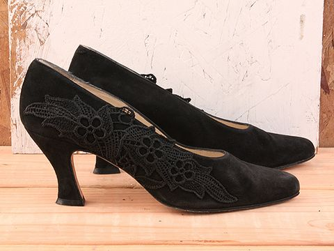 Vintage In Black No. 54 Black Lace Saks Fifth Ave. Pump Size 7