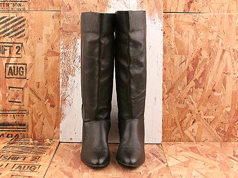 Vintage In black No. 545 Pointy Toe Simple Knee High Black Boots Size 6.5