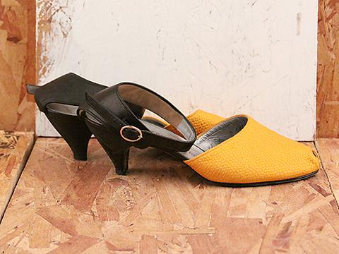 Vintage In Orange x Black No. 551 Orange Peep Toe Kitten Heel With Black Strap Size 7
