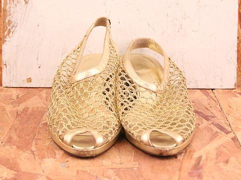 Vintage In Golden Sun No. 560 Golden Fishnet Slingback Sandal Size 7.5