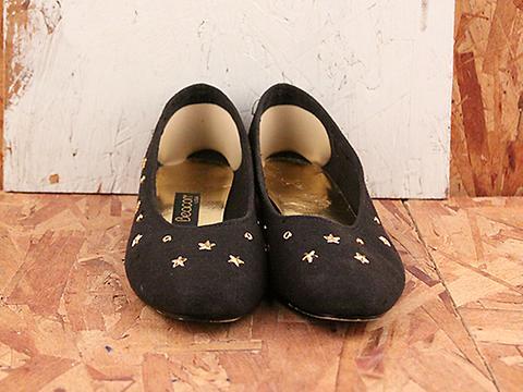 Vintage In Night Sky No. 564 Golden Star Studded Black Flat Size 7.5
