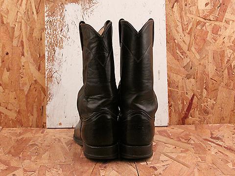 Vintage In Black No. 570 Justin Black Western Boot Size 7.5