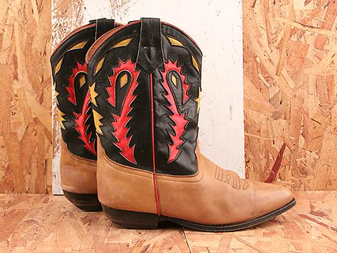 Vintage In Peppers No. 583 Fiesta Leather Western Boot Size 9