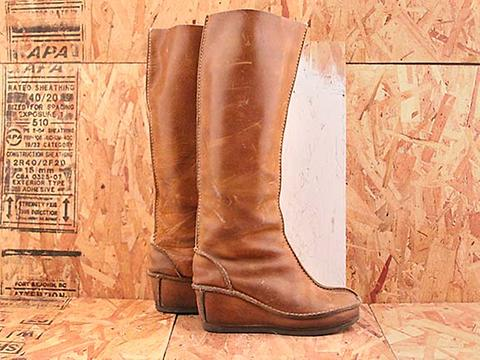 Vintage In Camel No. 590 Leather Mocassin Style Knee High Boot Size 6