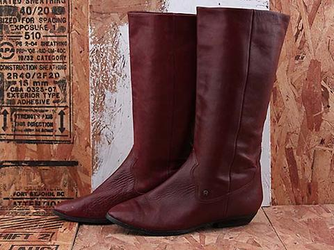 Vintage In Burgundy No. 601 Burgundy Flat Knee High Boot Size 6.5