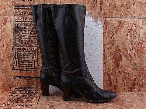 Vintage In Black No. 604 Black Leather Boot with Wooden Heel Size 10