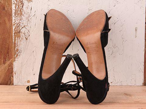 Vintage In Black No. 63 Black Suede Peeptoe Heel
