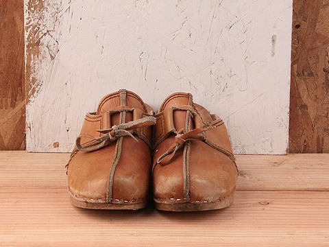 Vintage In Brown No. 73 Light Brown Leather Clogs Size 6.5