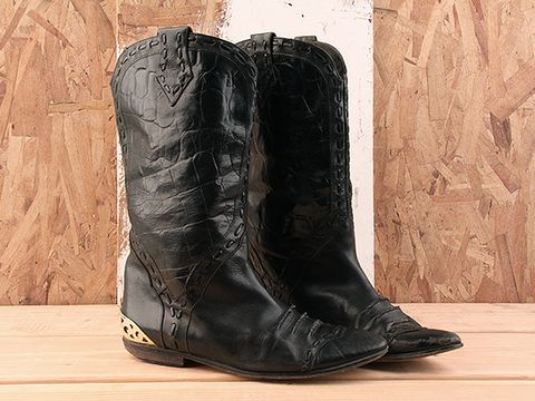 Vintage In Black No. 81 Cowboy Biker Boot Size 6.5