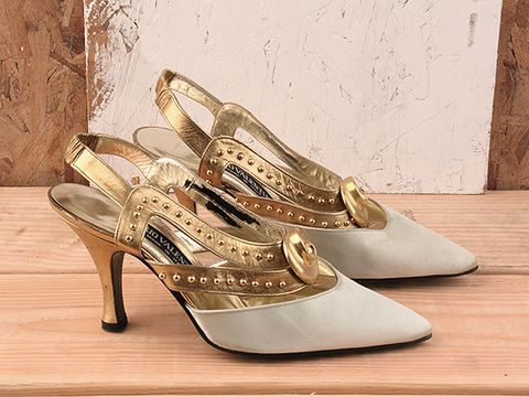Vintage In Ivory No. 86 Ivory Satin Heel with Gold Strap Size 7