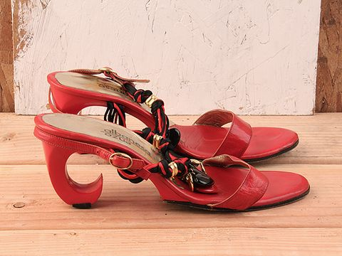 Vintage In Red No. 91 Red Leather Sandal With Braided Rope Detail Size 7.5