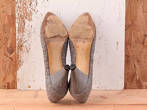 Vintage In Gray No.144 Gray Woven Leather Pumps Size 7
