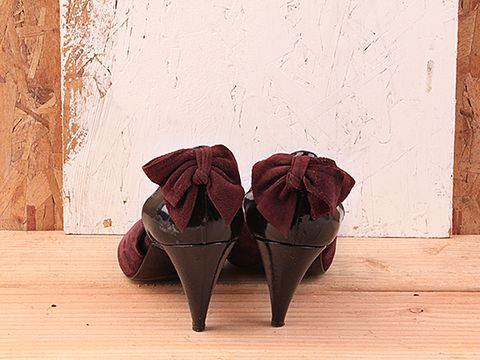 Vintage In Eggplant No.146 Purple Suede Pumps With Bow Detail Size 6.5