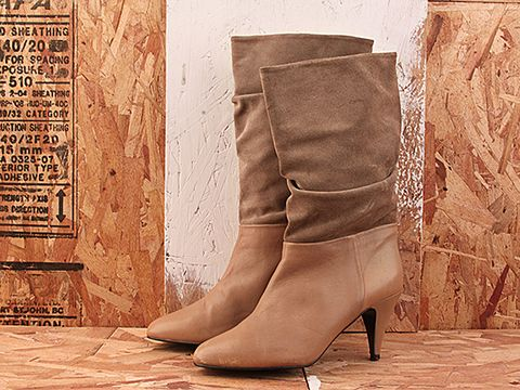 Vintage In Camel No.201 Two Tone Camel colored Leather and Suede Boot Size 7.5