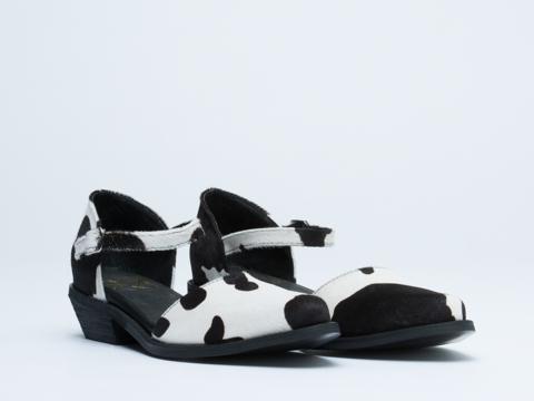 YES In Black White Cow Print Amethyst