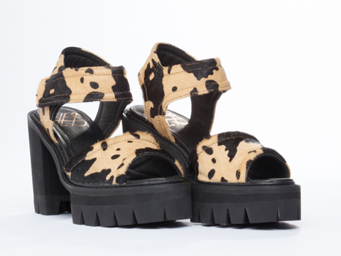 YES In Tan Black Cow Print Lauper