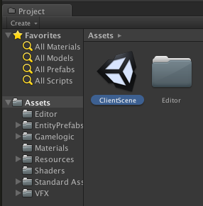Open the Client Scene within Unity
