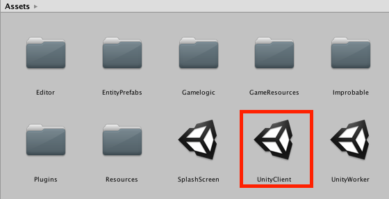 UnityClient scene in Unity assets