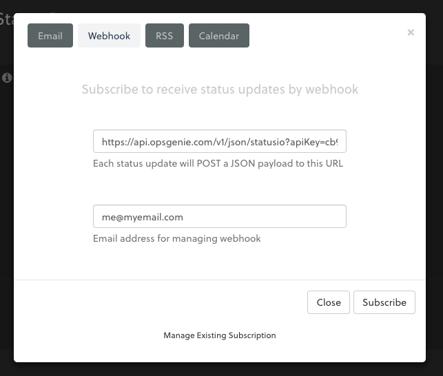 Subscribe to receive status updates by webhook