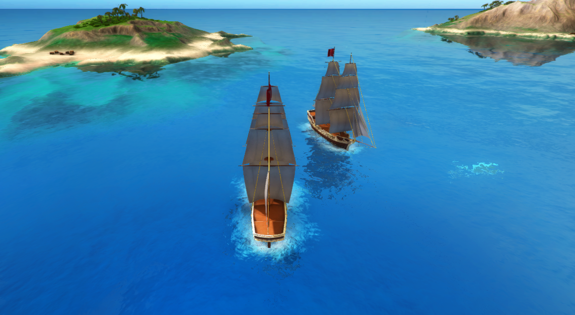 Sea with two pirate ships