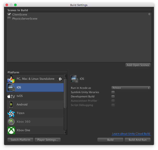 Unity Build Settings