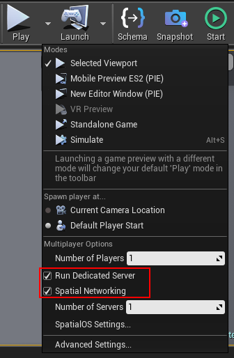 Play options