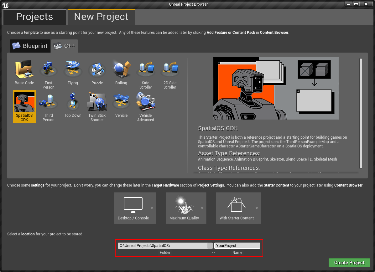 The Unreal Engine Project Browser
