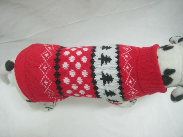 Ciepły elastyczny sweter golf wzór czerwony z choi