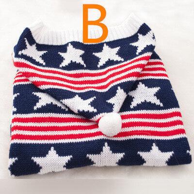 Ciepły sweter w gwiazdki z kapturem dla dużego psa