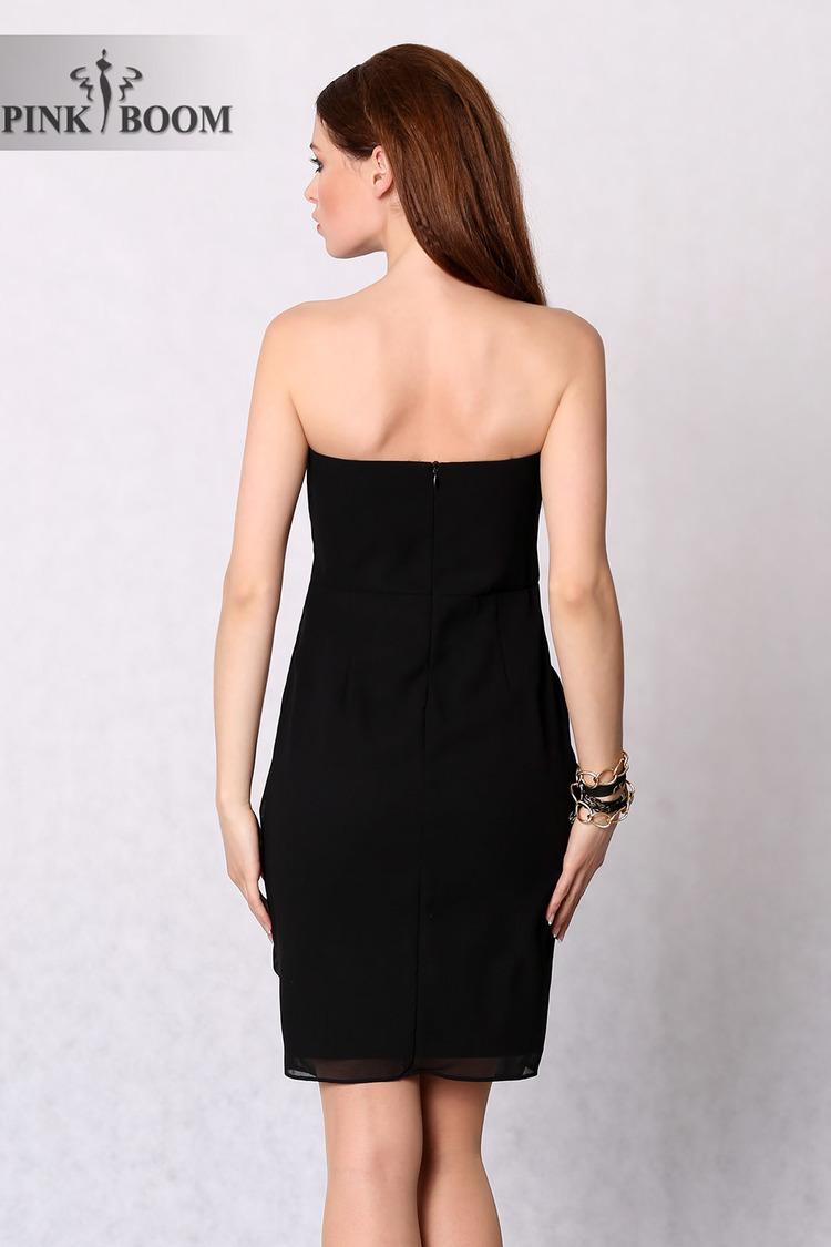 4228-2 Koktajlowa sukienka z ozdobną różą - czarny