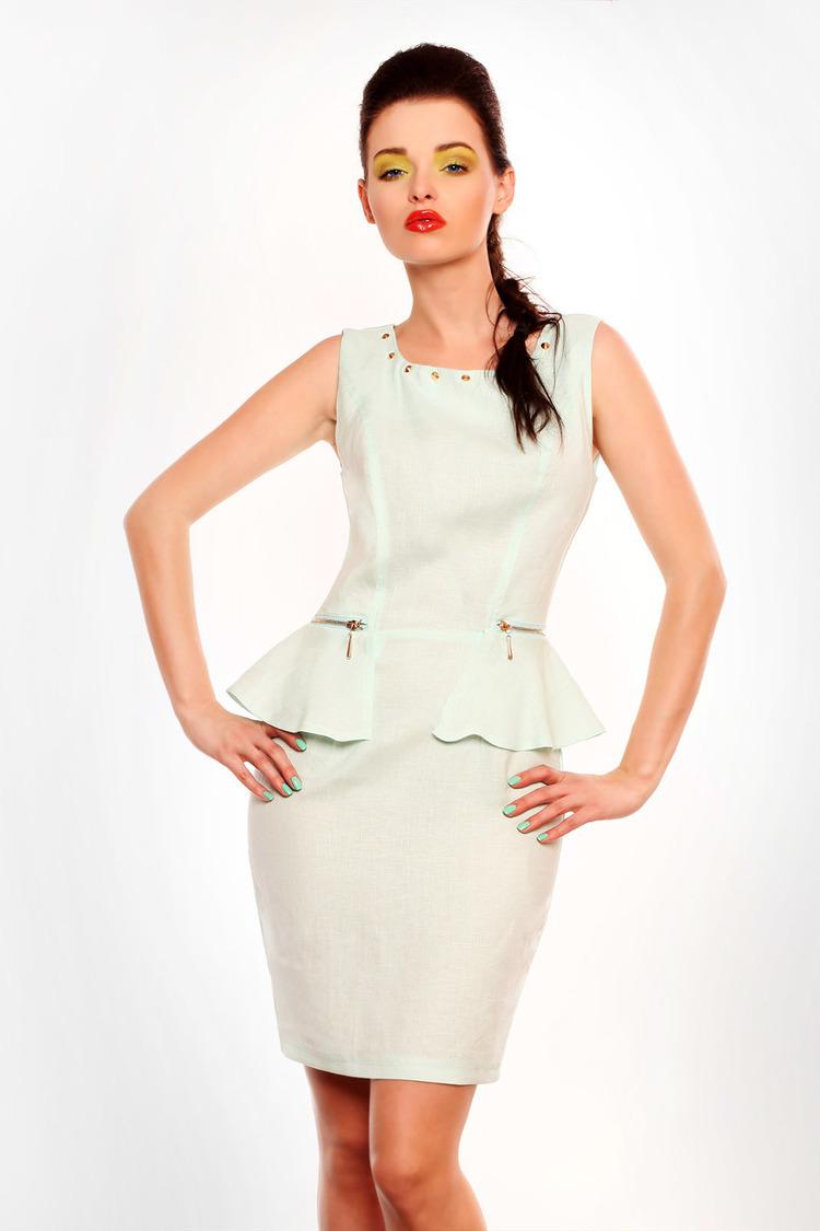 3604-2 Sukienka lniana na suwak typu baskinka - miętowy sorbet