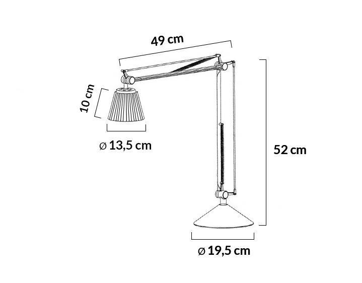 Lampa biurkowa RAYON ARM TABLE biała - LED, klosz z tkaniny