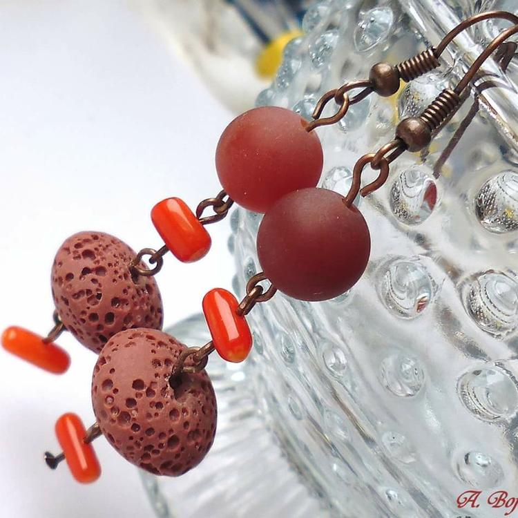 Kolczyki lawa koral i karneol