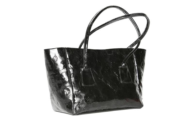 Shopper sztywny skórzany lakierowany