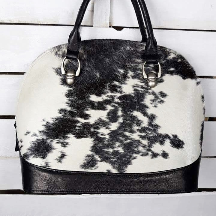 Sztywna torba skórzana biało-czarna