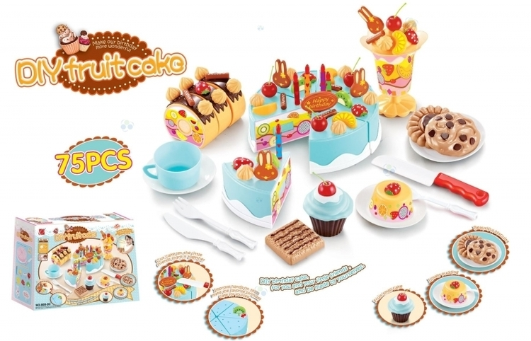 Tort urodzinowy do krojenia, kuchnia 75 el. niebieski #E1