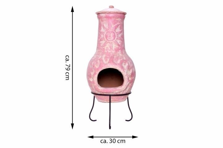Kominek ogrodowy, różowy meksykański piecyk gliniany 80 cm BioPeak