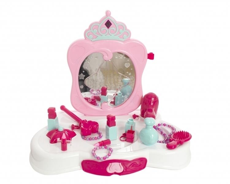 Toaletka różowa ze światłami i z lustrem #E1