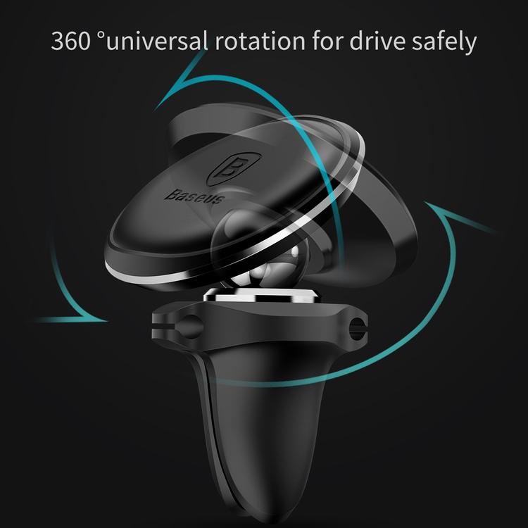 Baseus Magnetic Air Vent - Magnetyczny uchwyt samochodowy na kratkę wentylacyjną z klipsem na 2 kable (złoty/czarny)